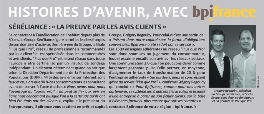 """Article de Plus que PRO paru sur Les Echos : """"Histoire d'avenir avec BPI France"""""""