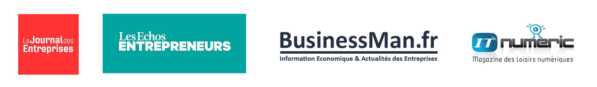 Logos JDE, Les Echos Entrepreneurs, BusinessMan.fr, ITnumeric