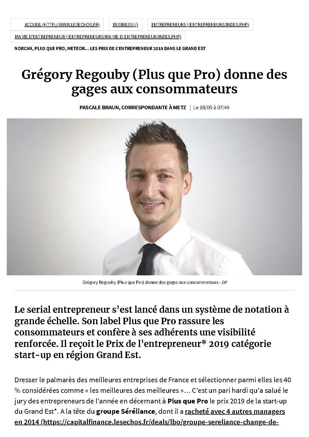 Grégory Regouby dans les Echos Entrepreneurs