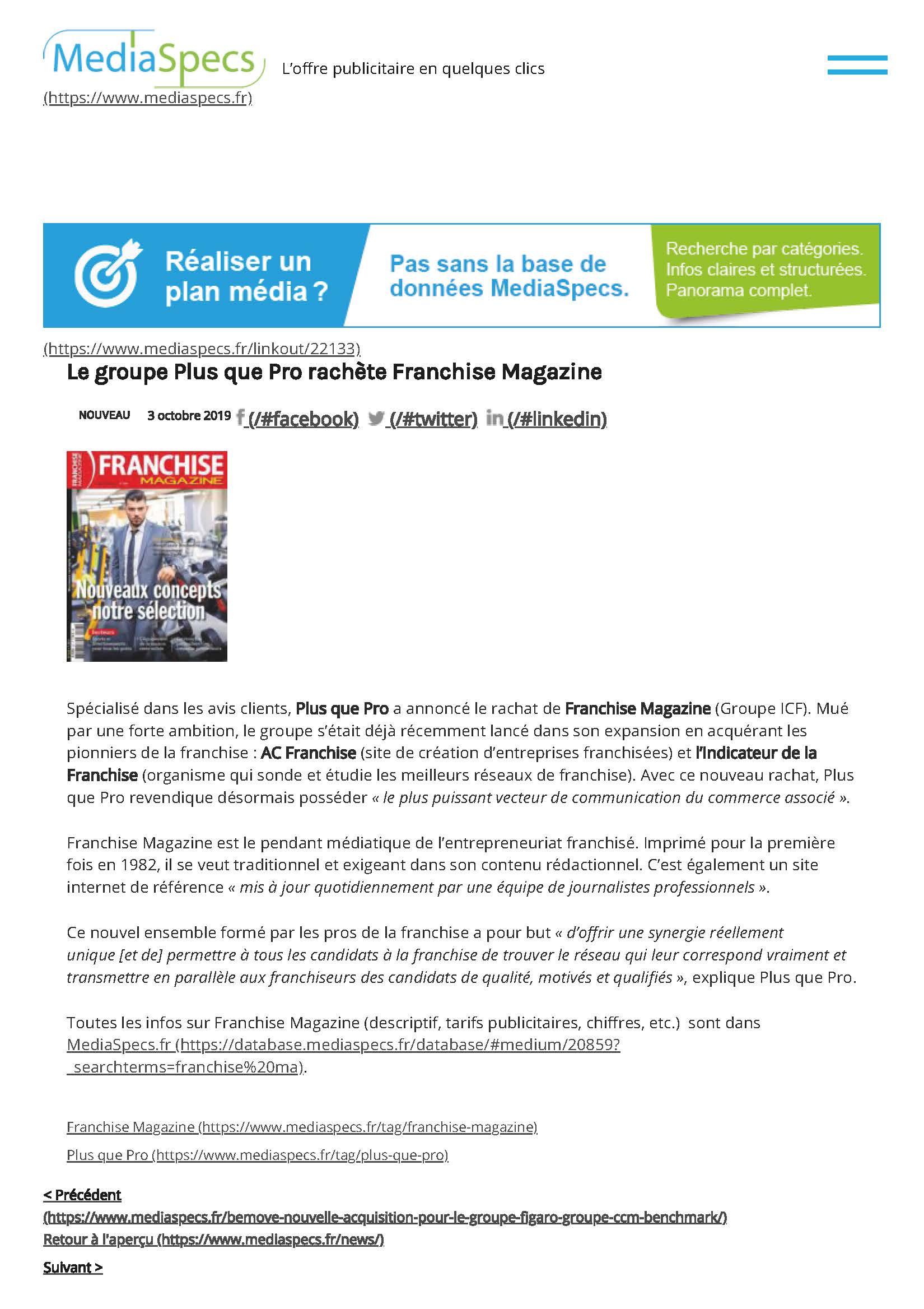 Article MediaSpecs sur le rachat de Franchise Magazine
