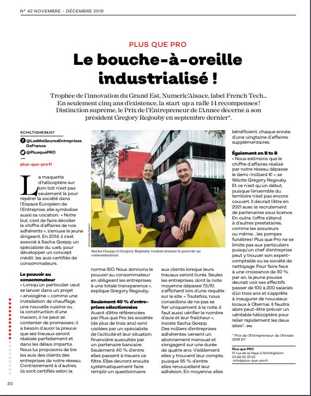 Article Plus que PRO dans le Point Eco Alsace