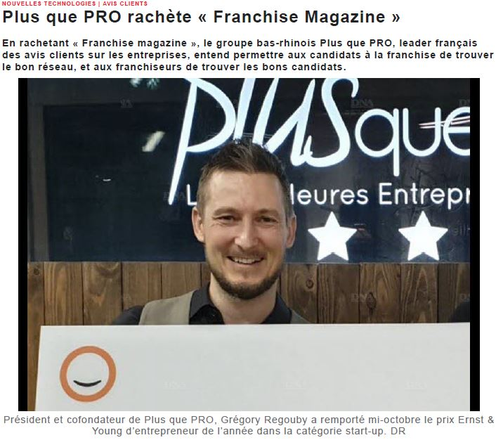 Article DNA sur le rachat de Franchise Magazine par Plus que PRO