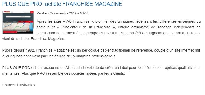 Le rachat de Franchise Magazine par Plus que PRO évoqué dans Fusacq