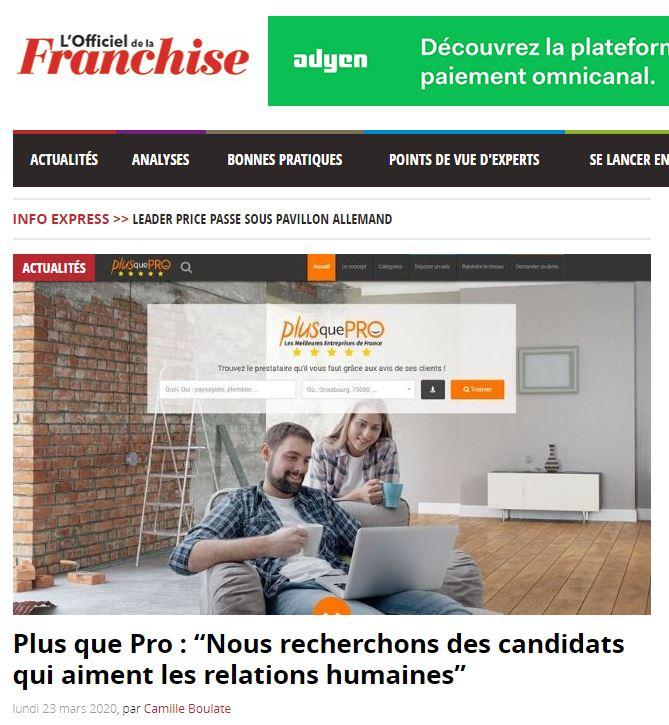 Interview de Plus que PRO dans L'Officiel de la Franchise