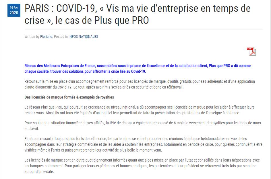Article Agence Presse sur les solutions mises en place par Plus que PRO durant la crise liée au Covid-19