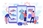 illustration de consommateurs qui achetent des produits sur internet