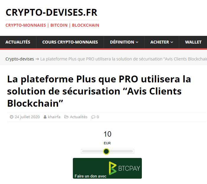 Article Crypto-Devises sur Avis Clients Blockchain